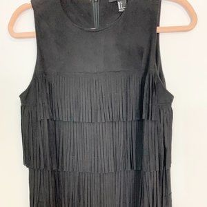 Forever 21 Faux Suede Fringe Dress Size Small